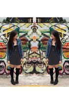 black Dr Martens boots - black cotton on dress - black H&M socks