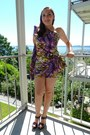 Purple-dress-yellow-dress-dark-brown-sandals