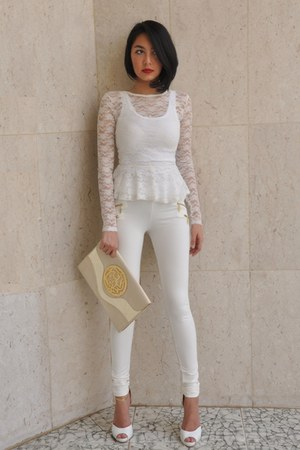 off white peplum lace H&amp;M blouse - ivory Bershka tights