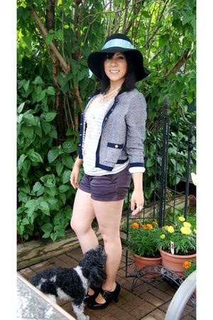 black H&M hat - blue H&M cardigan - blue Forever 21 shorts - white Anthropologie