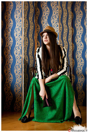 green Em dolli skirt - camel Borsalino hat - black striped Em dolli jacket
