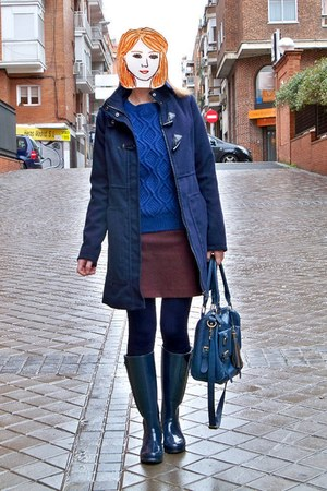blue romwe sweater - navy Woz boots - navy Lefties coat - blue Primark bag
