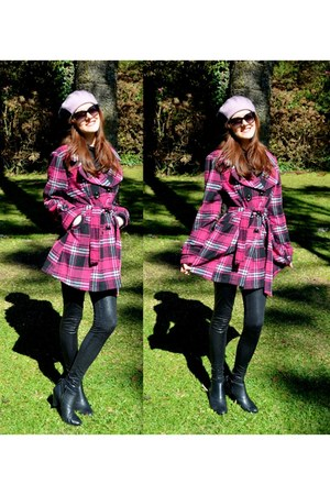 black leather random boutique boots - amethyst plaid print random boutique coat
