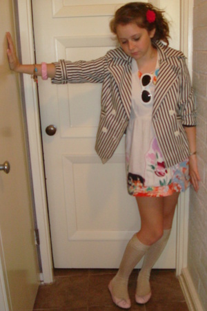 My mother dress - forever 21 jacket - H&amp;M socks - JCrew accessories - London Sol