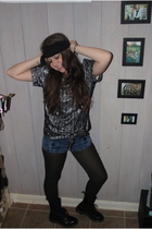 black Marc by Marc Jacobs blouse - blue Old Navy shorts - black Gap tights - bla