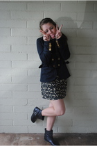 blue Marc by Marc Jacobs blazer - black Goodwill dress - black Topshop boots