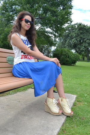 white Forever 21 shirt - black Disney sunglasses - blue Forever 21 skirt