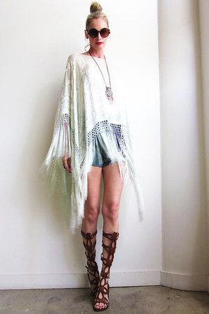 fringed poncho mint green top
