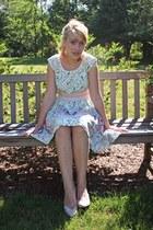 Darling dress - vintage Nine West heels - swan Forever 21 ring
