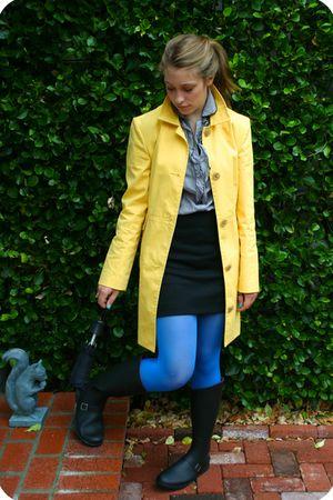 yellow My moms jacket - gray Forever 21 blouse - black H&M skirt - black TJ Maxx
