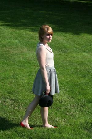 black Forever 21 hat - white Forever 21 skirt - ruby red Steve Madden flats - of