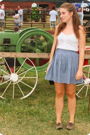 white H&M top - blue American Apparel skirt - brown Target shoes - brown Urban O