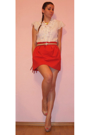 carrot orange Zara skirt - nude Zara pumps - ivory blouse - nude belt