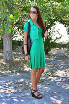green dress - green bolero jacket - black studded bag bag