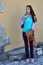 aquamarine vest - deep purple skinny jeans Tally Weijl jeans