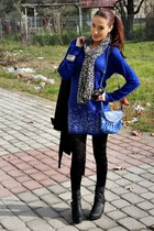 blue dress - black wedges boots - black bows Tally Weijl tights
