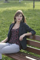black Cache Cache jacket - black NY top - silver Zara jeans - red earrings