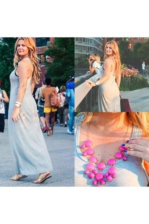 gold gladiator Aldo flats - aldo flats - maxi dress Forever 21 dress