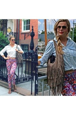 denim shirt hm blouse - fringed bag - floral print carl lagerfeld pants
