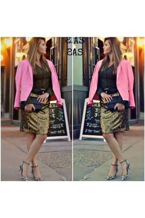 bubble gum Zara blazer - Zara shoes - black Chanel bag - Express skirt