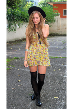 yellow dress - black shorts