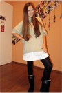 Tan-from-my-father-sweater-black-unknown-brand-shoes-black-h-m-tights-whit