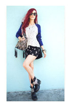 studded moto boots - colorblock sweater - purse - skirt - bracelet - necklace