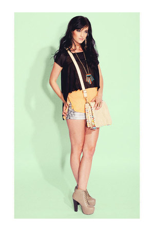 sheer cropped top - top - bag - shorts - necklace - heels