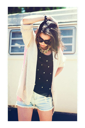 two-tone cardigan - necklace - sneakers wedges - top - bracelet
