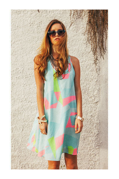 bracelet - bracelet - dress - metal arm sunglasses - necklace