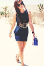 Dress-bag-metal-inset-sunglasses-heels-belt-bracelet
