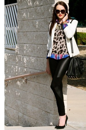 leopard print Old Navy sweater - leather pants BCBG leggings - vintage blazer