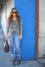 Army-green-ankle-boots-sole-society-boots-dark-gray-knit-michael-stars-sweater