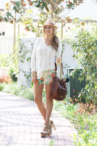 free people sweater - Melissa Odabash hat - oryany bag - Alice  Olivia shorts