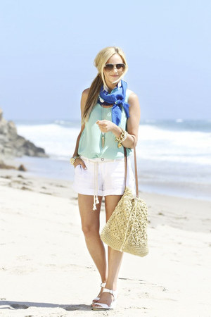 Michael Stars shirt - Echo Bold scarf - Straw Studios bag - Michael Stars shorts