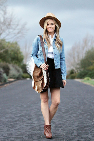 blue denim rag &amp; bone jacket - brown sam edelman boots