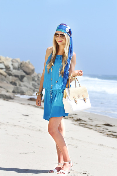 white tory burch bag - blue Michael Stars dress - blue Echo Bold scarf