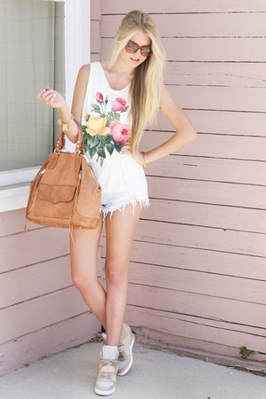 white Wildfox t-shirt - bronze Rebecca Minkoff bag