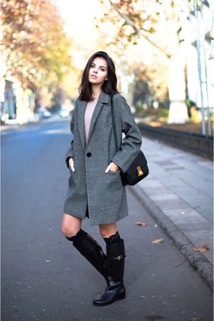 balenciaga coat - Louis Vuitton boots - Pnk Casual dress