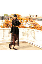 sheer H&M skirt - Zara shoes - crop top Zara top