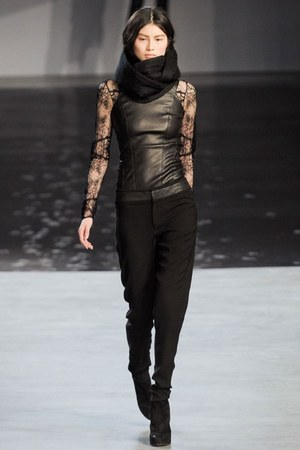 dress - leggings - scarf - pants - Helmut Lang top