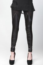 Pleather Studded Translucent Tights