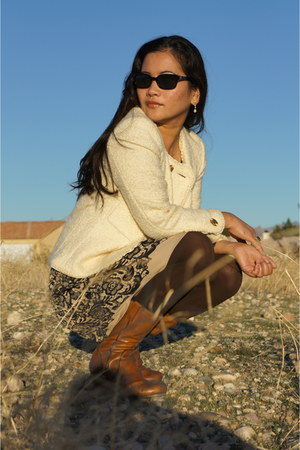brown Biviel boots - gold Rodarte for Target dress - cream Chanel blazer - black