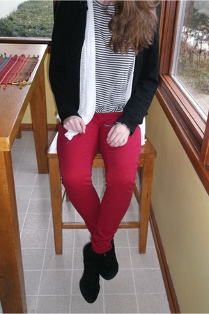black cardigan - red Wet Seal jeans - black striped Charlotte Russe top