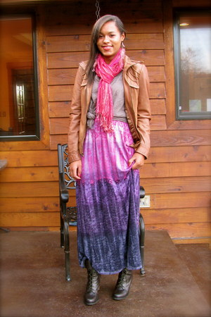 amethyst maxi dress dress - dark brown lace up boots Chinese Laundry boots
