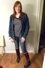 Brown-frye-boots-pink-target-socks-blue-old-navy-jeans-blue-target-cardiga