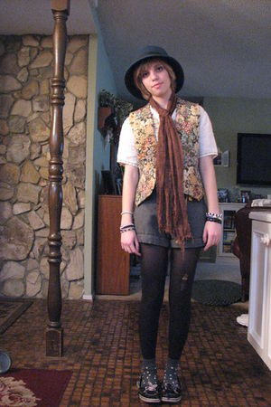 brown vintage scarf - Goodwill vest - gray Forever 21 shorts - socks - vintage s