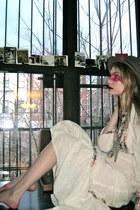 black Chains of Love earrings - off white vintage dress