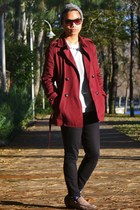 brick red trench coat Topman coat - black denim Topman jeans