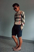 bronze exploded check Burberry shirt - navy pin stripe Club Monaco shorts